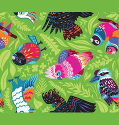 Decorative australian birds seamless pattern vector