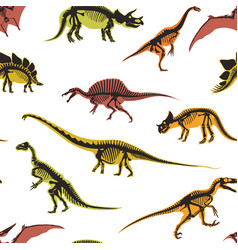 dinosaurs and pterodactyl types animals vector image