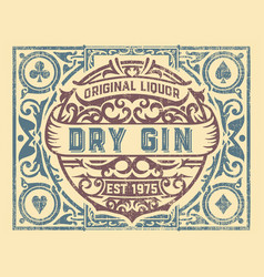 Dirty gin label with floral frame vector