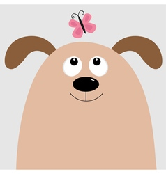 Dog head looking at pink butterfly Cute cartoon vector