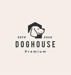 dog house hipster vintage logo icon vector image