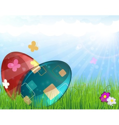 Easter eggs on meadow vector image