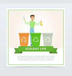 Ecological lifestyle concept with man throwing out vector