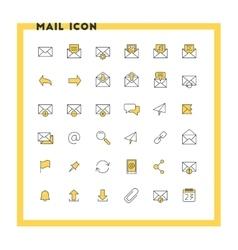 Email flat design icon set envelope link vector