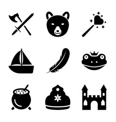 Fairy tale elements solid icons vector
