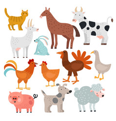 farm animals cow horse and rabbit dog vector image