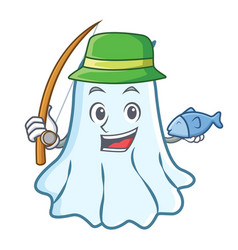fishing cute ghost character cartoon vector image