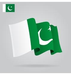 Flat and waving Pakistani Flag vector