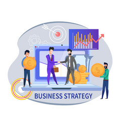flat banner business strategy on white background vector image