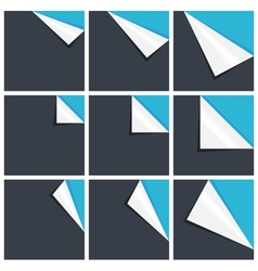 Flat blue set of note paper with curled corner vector