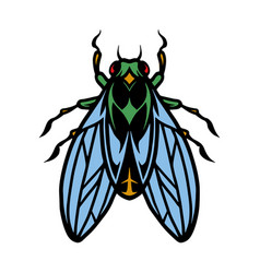 Fly insect colorful vintage concept vector