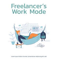 Freelancer work mode poster template vector