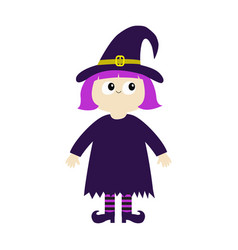 girl wearing witch costume curl hat happy vector image