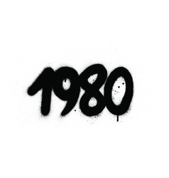 Graffiti 1980 date sprayed in black over white vector
