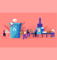 Group people city dwellers throw garbage to vector