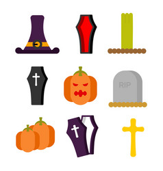 halloween set icon sign for terrible holiday hat vector image