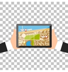 Hand with Tablet Navigation Design vector image
