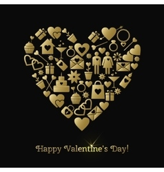 Happy Valentines Day greeting card with gold vector image