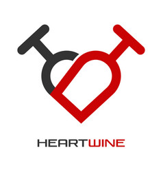 heart wine logo vector image