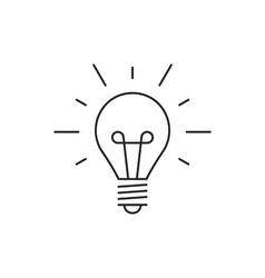 Idea icon outline lamp vector image