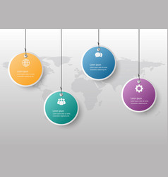infographic design template with hanging banners vector image