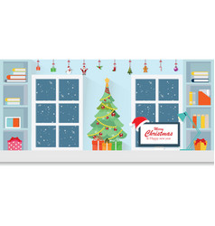 interior workplace on christmas vector image