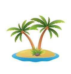 Island logo - tropical palm trees with sea waves vector