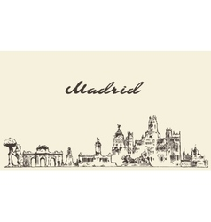 Madrid skyline hand drawn sketch vector image