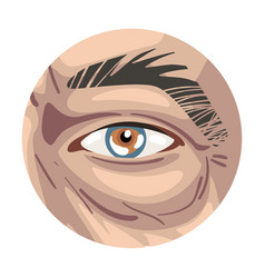 Male eye in circle part human face vector