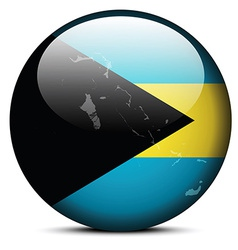 Map on flag button commonwealth the bahamas vector
