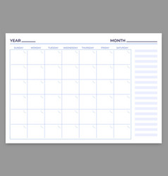 monthly planner template month and week vector image