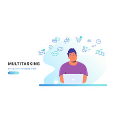 multitasking and working with laptop at home vector image