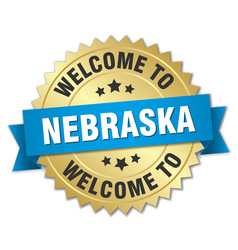 Nebraska 3d gold badge with blue ribbon vector