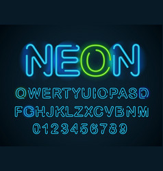neon blue font english alphabet and digits set vector image