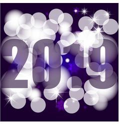 New year 2019 beautiful bokeh greeting card vector