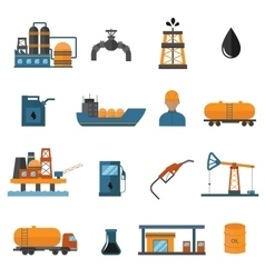 Oil gas industry manufacturing icons for vector