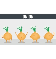 Onion Funny cartoon vegetables Organic food vector