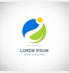 organic green leaf environment logo vector image
