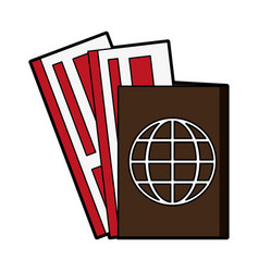 Passport with boarding tickets icon image vector