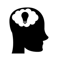 person head brain think silhouette vector image