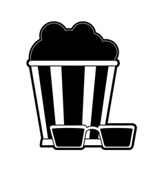 popcorn bucket with 3d glasses icon image vector image
