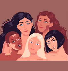 Portrait young women with different skin types vector