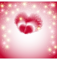 Postcard with a heart made of feathers on a pink vector