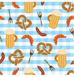 Pretzels beer sausage fork seamless pattern vector