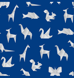 realistic detailed 3d origami paper animals vector image