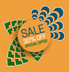 Sale 30 off special offer banner text in round vector