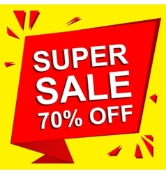 Sale poster with SUPER SALE 70 PERCENT OFF text vector image