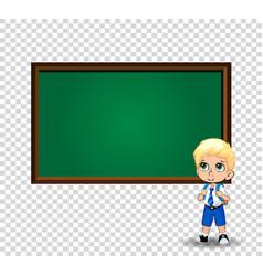 school boy near chalkboard with copy space on vector image