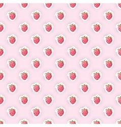 Seamless pattern background with raspberry fruit vector image