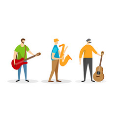 set band music player male characters isolated vector image